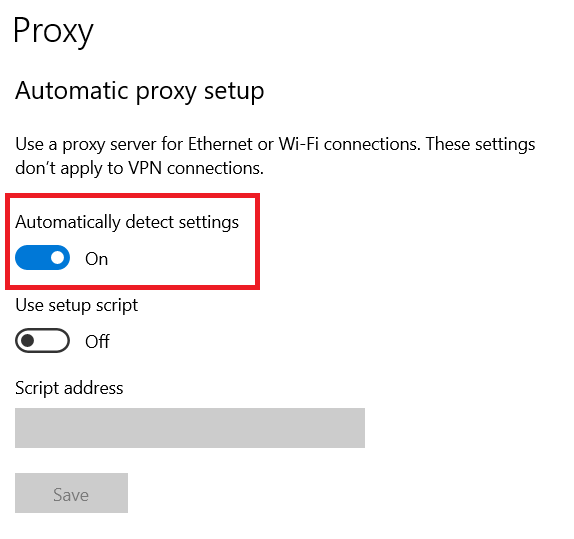 automatic proxy settings