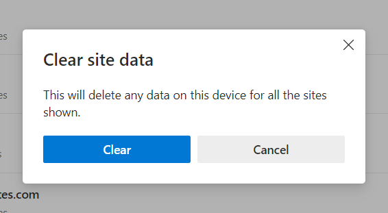 clear site data