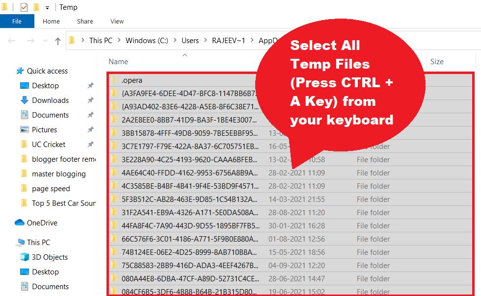 delete all temporary files